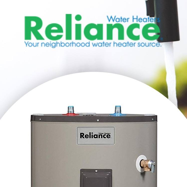 Reliance Water Heaters logo with kitchen faucet and water heater