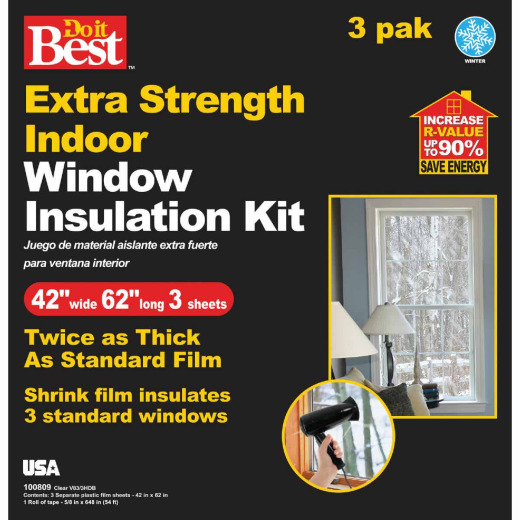 Do it Best 42 In. W. x 62 In. L. Indoor Shrink Window Film (3-Sheets)
