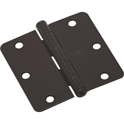 National 3-1/2 In. X 1/4 In. Radius Oil Rubbed Bronze Door Hinge (3-Pack)
