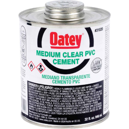 Oatey 1 Qt. Medium Bodied Clear PVC Cement