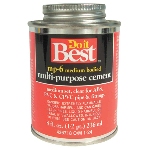 Do it Best 8 Oz. Medium Bodied Clear Multi Purpose Solvent Cement