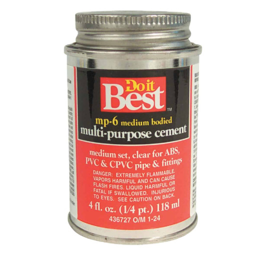 Do it Best 4 Oz. Medium Bodied Clear Multi Purpose Solvent Cement