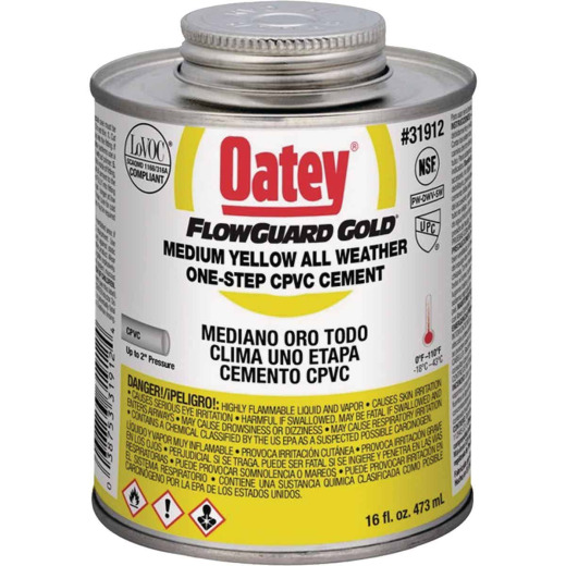 Oatey FlowGuard Gold 16 Oz. Medium Bodied Yellow All Weather One-Step CPVC Cement