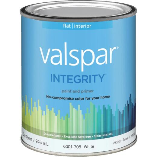 Valspar Integrity Latex Paint And Primer Flat Interior Wall Paint, White, 1 Qt.